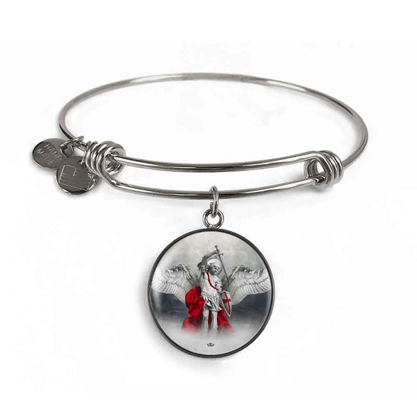 St. Michael the Archangel Charm Bangle Bracelet in Surgical Steel