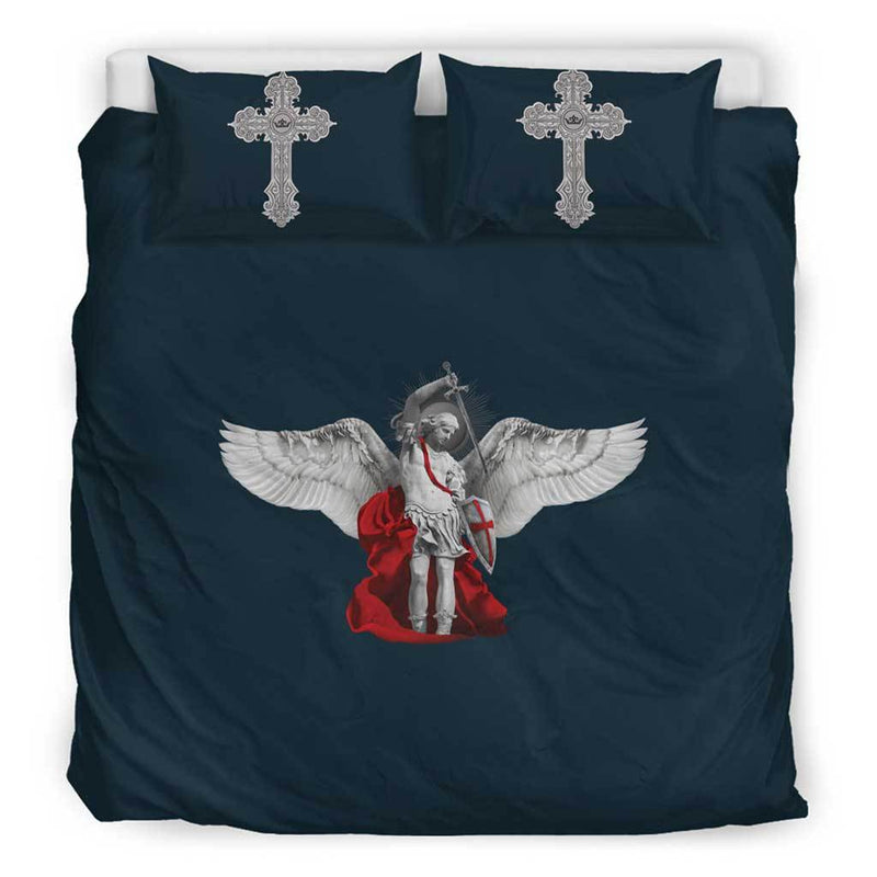 St. Michael the Archangel Duvet Cover and Pillow Cases King Size in Midnight Blue