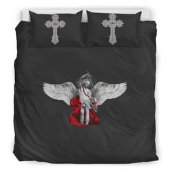 St. Michael the Archangel Duvet Cover and Pillow Cases King Size in Shadow