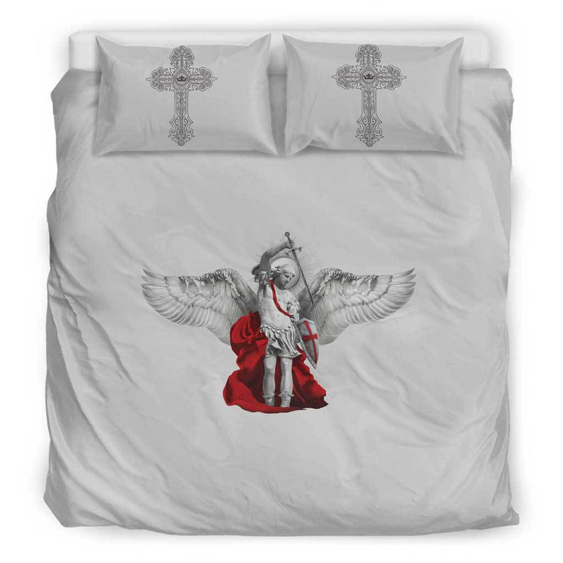 St. Michael the Archangel Duvet Cover and Pillow Cases King Size in Soft Grey