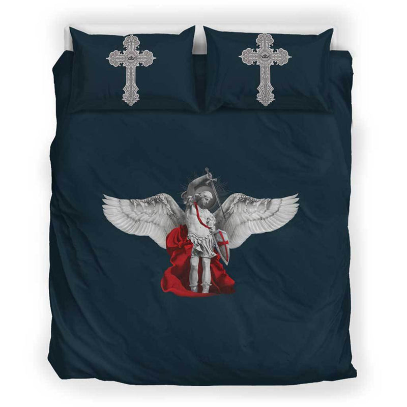 St. Michael the Archangel Duvet Cover and Pillow Cases Queen/Full Size in Midnight Blue