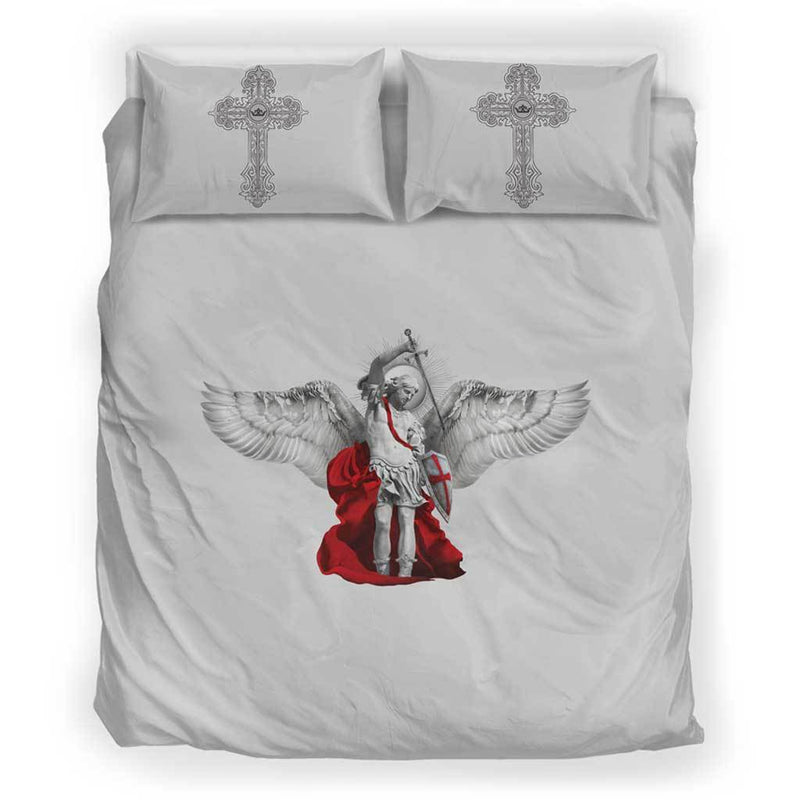 St. Michael the Archangel Duvet Cover and Pillow Cases Queen/Full Size in Soft Grey