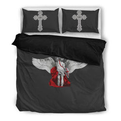 St. Michael the Archangel Duvet Cover and Pillow Cases Queen/Full Size in Shadow