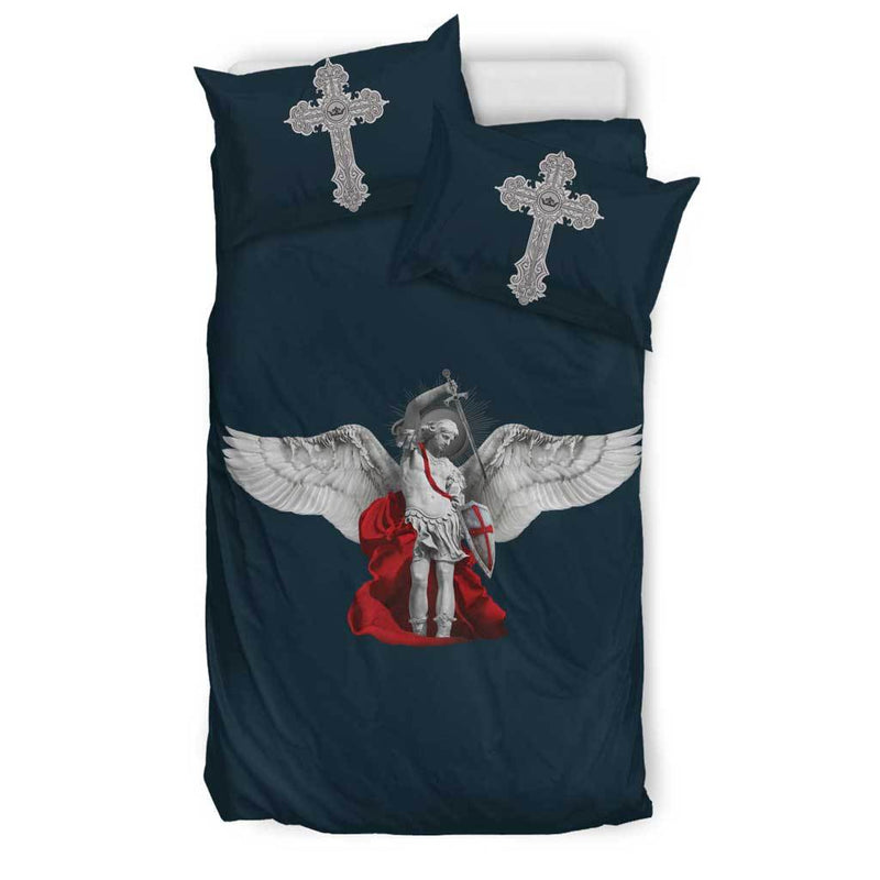 St. Michael the Archangel Duvet Cover and Pillow Cases Twin Size in Midnight Blue