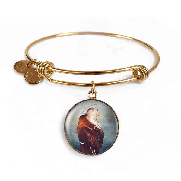 St. Pio Charm Bangle Bracelet in 18k Gold Finish