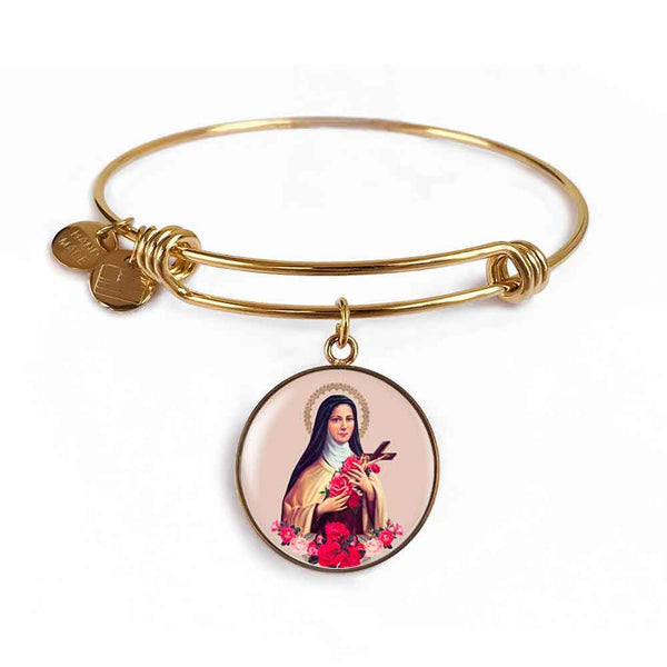 St. Therese of Lisieux Charm Bangle Bracelet in 18k Gold Finish