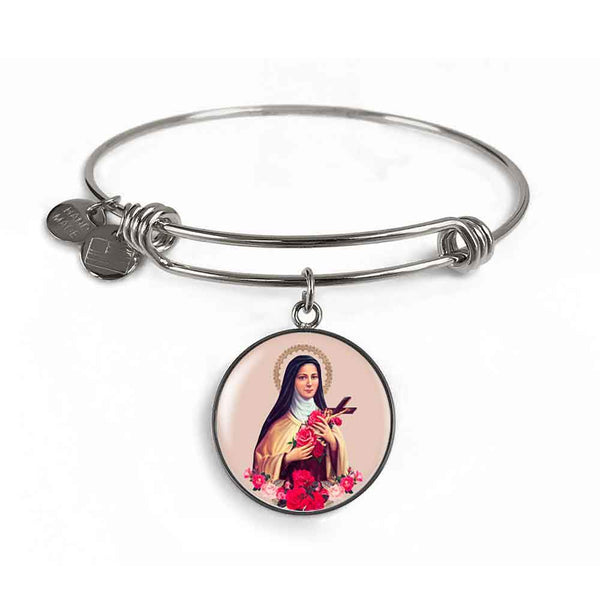 St. Therese of Lisieux Charm Bangle Bracelet in Surgical Steel