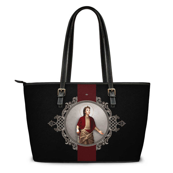 St. Dymphna Medallion Tote Bag (Black)