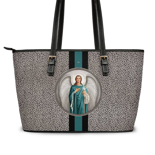 St. Gabriel the Archangel Medallion Tote Bag (Leopard)