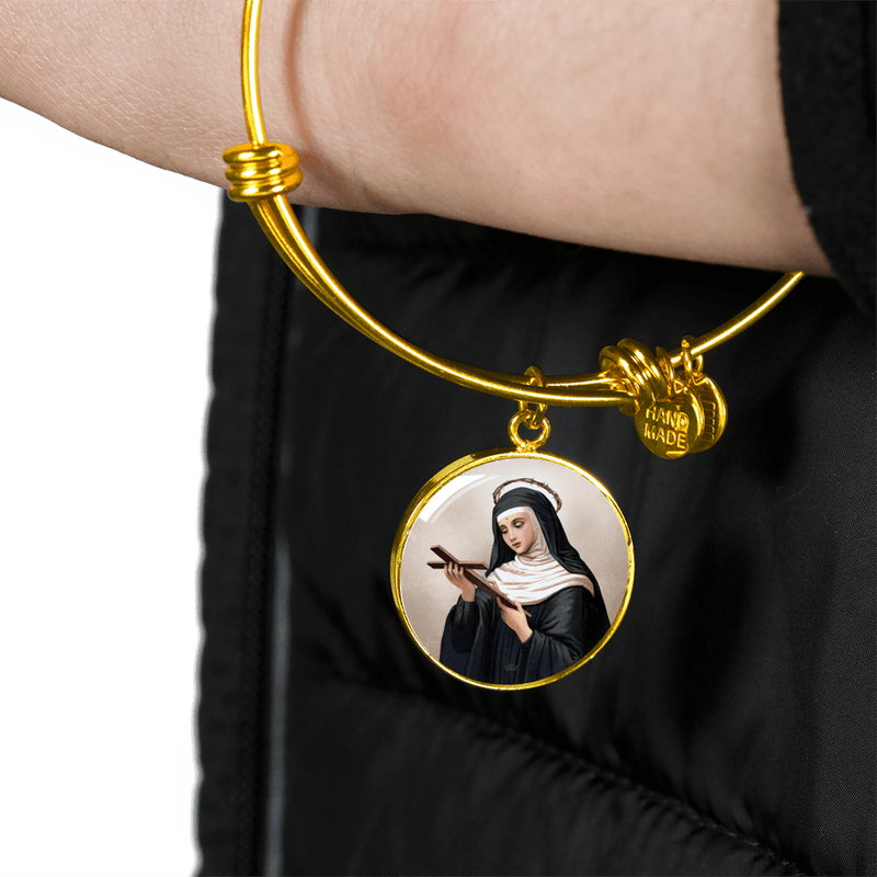 St. Rita of Cascia Charm Bangle Bracelet in 18k Gold Finish