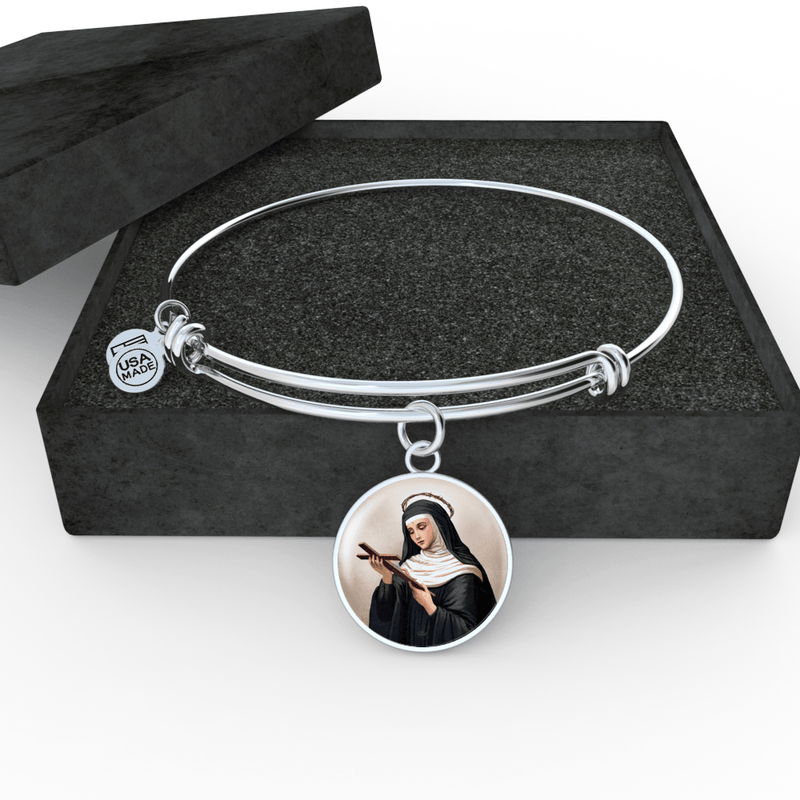 St. Rita of Cascia Charm Bangle Bracelet in Surgical Steel