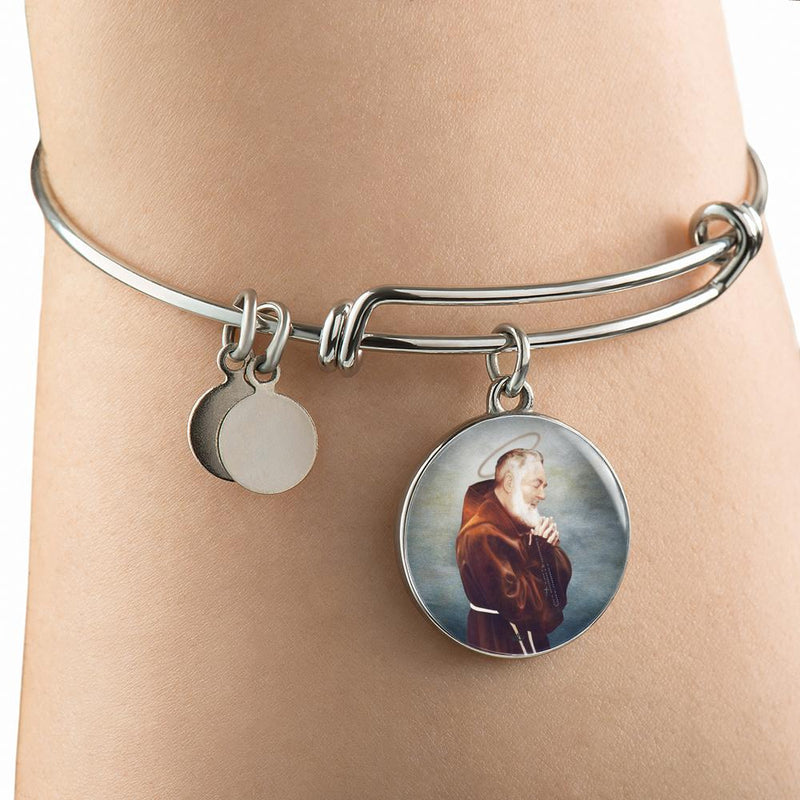 St. Pio Charm Bangle Bracelet in Surgical Steel