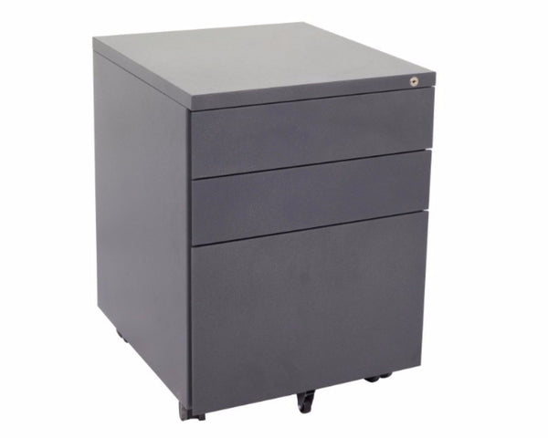 Rapidline 3 Drawer Metal Mobile Pedestal - Graphite Ripple Mobile Storage Units Dunn Furniture - Online Office Furniture for Brisbane Sydney Melbourne Canberra Adelaide