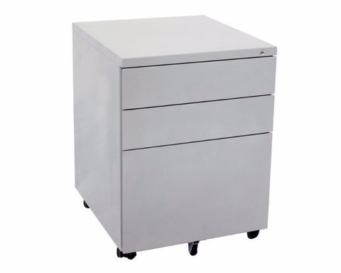 Rapidline 3 Drawer Metal Mobile Pedestal - Precious Silver Mobile Storage Units Dunn Furniture - Online Office Furniture for Brisbane Sydney Melbourne Canberra Adelaide