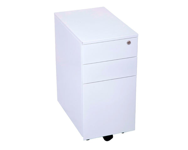 Rapidline Slim Line Metal Mobile Pedestal - White Mobile Storage Units Dunn Furniture - Online Office Furniture for Brisbane Sydney Melbourne Canberra Adelaide