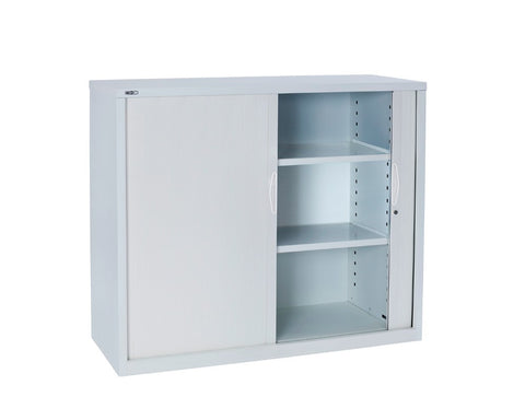 Rapidline GO Tambour Steel Cupboard White Satin Storage Units Dunn Furniture - Online Office Furniture for Brisbane Sydney Melbourne Canberra Adelaide