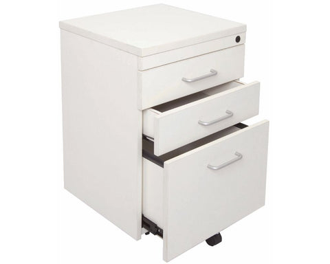Rapidline Rapid Vibe Mobile Pedestal 3 Drawer White Mobile Storage Units Dunn Furniture - Online Office Furniture for Brisbane Sydney Melbourne Canberra Adelaide
