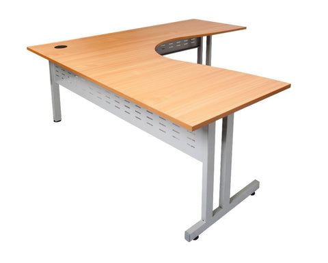 Rapidline Rapid Span C-Leg Corner Workstation Beech Computer Desks Dunn Furniture - Online Office Furniture for Brisbane Sydney Melbourne Canberra Adelaide