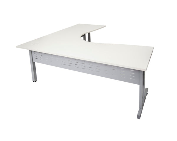 Rapidline Rapid Span C-Leg Corner Workstation White with Silver Frame Computer Desks Dunn Furniture - Online Office Furniture for Brisbane Sydney Melbourne Canberra Adelaide