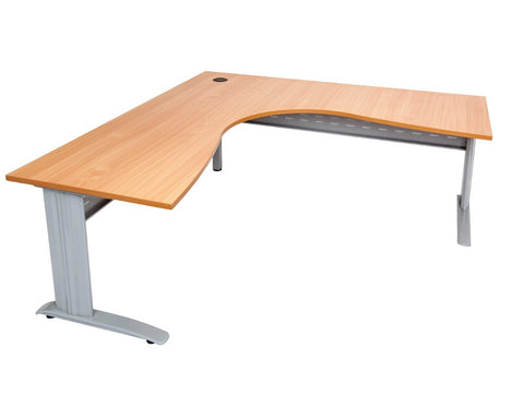 Rapidline Rapid Span Corner Workstation Beech with Silver Frame Computer Desks Dunn Furniture - Online Office Furniture for Brisbane Sydney Melbourne Canberra Adelaide