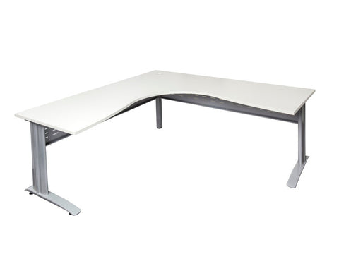 Rapidline Rapid Span Corner Workstation White with Silver Frame Computer Desks Dunn Furniture - Online Office Furniture for Brisbane Sydney Melbourne Canberra Adelaide