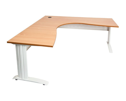 Rapidline Rapid Span Corner Workstation Beech with White Frame Computer Desks Dunn Furniture - Online Office Furniture for Brisbane Sydney Melbourne Canberra Adelaide
