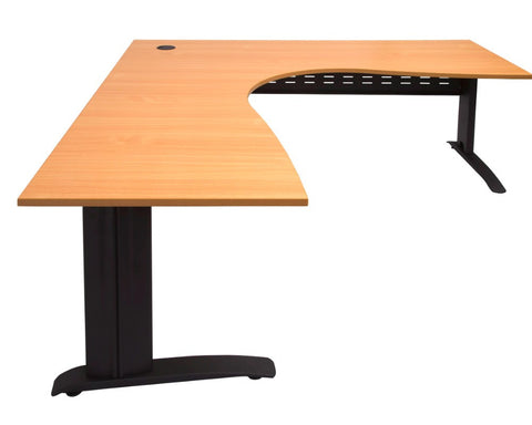 Rapidline Rapid Span Corner Workstation Beech with Black Frame Computer Desks Dunn Furniture - Online Office Furniture for Brisbane Sydney Melbourne Canberra Adelaide