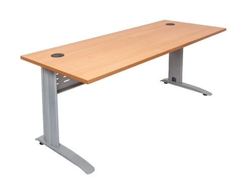 Rapidline Rapid Span Desk in Beech with Silver Frame Computer Desks Dunn Furniture - Online Office Furniture for Brisbane Sydney Melbourne Canberra Adelaide