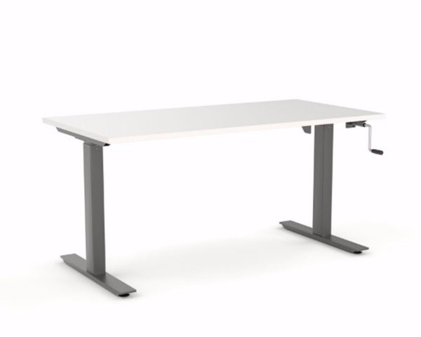OLG Agile Winder Height Adjustable Single Desk Black Standing Desks Dunn Furniture - Online Office Furniture for Brisbane Sydney Melbourne Canberra Adelaide