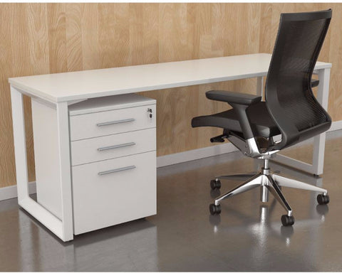 OLG Anvil Straightline Desk White Frame Computer Desks Dunn Furniture - Online Office Furniture for Brisbane Sydney Melbourne Canberra Adelaide