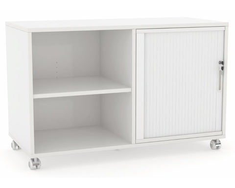 OLG Axis Caddy Mobile Bookcase with 1 Tambour Insert Mobile Storage Units Dunn Furniture - Online Office Furniture for Brisbane Sydney Melbourne Canberra Adelaide