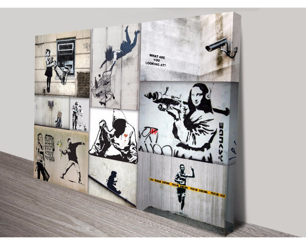 Mono Colour Collage By Banksy Wall Art Banksy Dunn Furniture - Online Office Furniture for Brisbane Sydney Melbourne Canberra Adelaide
