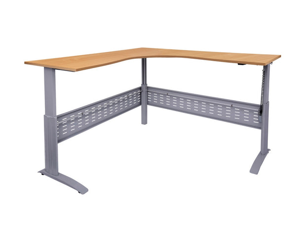 Rapidline Rapid Span Electric Height Adjustable Corner Workstation Beech with Silver Frame Standing Desks Dunn Furniture - Online Office Furniture for Brisbane Sydney Melbourne Canberra Adelaide