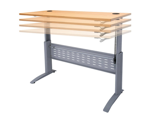 Rapidline Rapid Span Electric Height Adjustable Desk in Beech and Silver Standing Desks Dunn Furniture - Online Office Furniture for Brisbane Sydney Melbourne Canberra Adelaide
