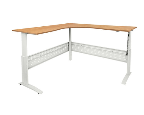 Rapidline Rapid Span Electric Height Adjustable Corner Workstation Beech with White Frame Standing Desks Dunn Furniture - Online Office Furniture for Brisbane Sydney Melbourne Canberra Adelaide