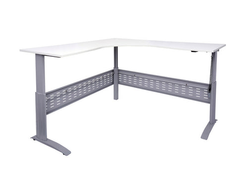 Rapidline Rapid Span Electric Height Adjustable Corner Workstation White with Silver Frame Standing Desks Dunn Furniture - Online Office Furniture for Brisbane Sydney Melbourne Canberra Adelaide