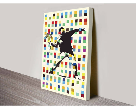 Retro Rage Flower Thrower By Banksy Wall Art Banksy Dunn Furniture - Online Office Furniture for Brisbane Sydney Melbourne Canberra Adelaide