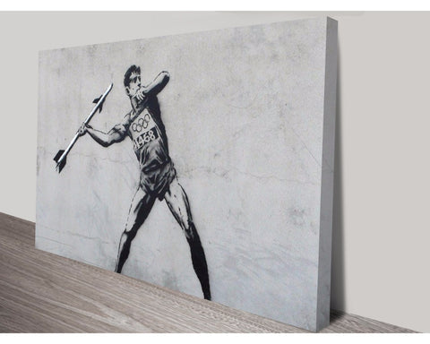 Javelin Thrower By Banksy Wall Art Banksy Dunn Furniture - Online Office Furniture for Brisbane Sydney Melbourne Canberra Adelaide