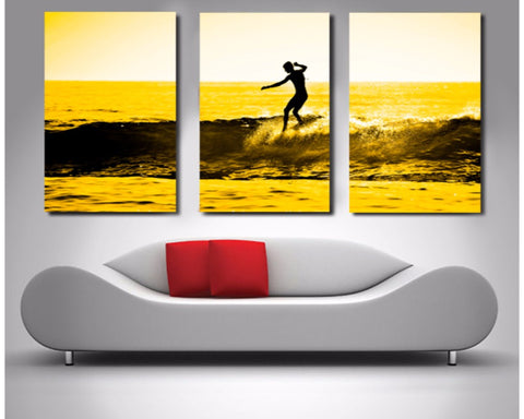 Lone Surfer Triptych 3 Piece Wall Art 3 Piece Wall Art Dunn Furniture - Online Office Furniture for Brisbane Sydney Melbourne Canberra Adelaide