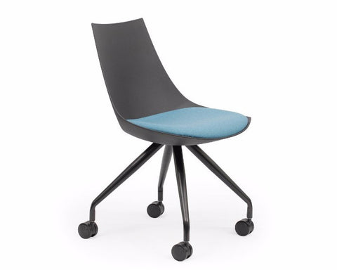 OLG Luna Black Chair with Castor Base Upholstered Cushion Visitor Chairs Dunn Furniture - Online Office Furniture for Brisbane Sydney Melbourne Canberra Adelaide