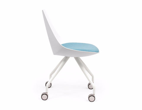 OLG Luna White Chair with Castor Base Visitor Chairs Dunn Furniture - Online Office Furniture for Brisbane Sydney Melbourne Canberra Adelaide