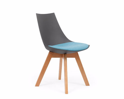OLG Luna Black Chair with Oak Base Upholstered Cushion Visitor Chairs Dunn Furniture - Online Office Furniture for Brisbane Sydney Melbourne Canberra Adelaide