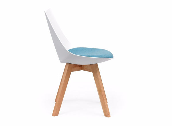 OLG Luna White Chair with Oak Base Visitor Chairs Dunn Furniture - Online Office Furniture for Brisbane Sydney Melbourne Canberra Adelaide
