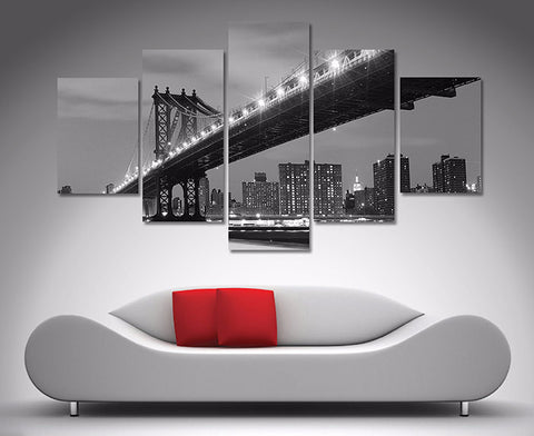 Manhattan Bridge Black and White 5 Piece Diamond Shaped Wall Art 5 Piece Diamond Shaped Wall Art Dunn Furniture - Online Office Furniture for Brisbane Sydney Melbourne Canberra Adelaide