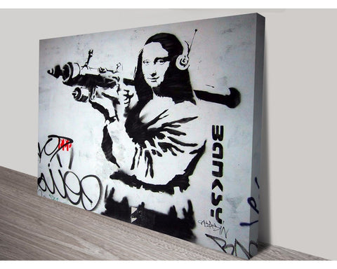 Mona Lisa Bazooka By Banksy Wall Art Banksy Dunn Furniture - Online Office Furniture for Brisbane Sydney Melbourne Canberra Adelaide