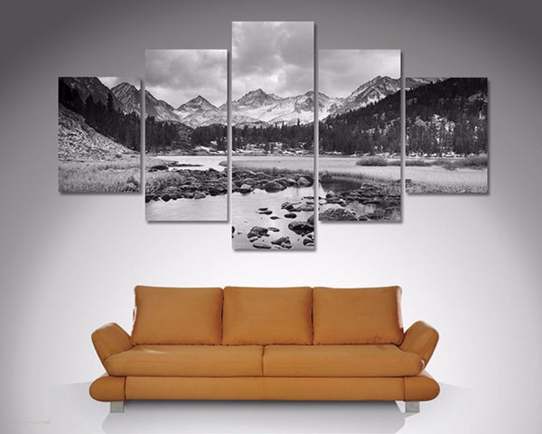 Mountain Stream Black and White 5 Piece Diamond Shaped Wall Art 5 Piece Diamond Shaped Wall Art Dunn Furniture - Online Office Furniture for Brisbane Sydney Melbourne Canberra Adelaide