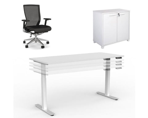 OLG Agile Sit/Stand Home Office Bundle - 1500 x 750 Height Adjustable Desk + Chair + Credenza Home Office Bundle Dunn Furniture - Online Office Furniture for Brisbane Sydney Melbourne Canberra Adelaide