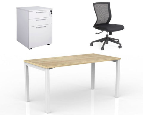 OLG Axis Home Office Bundle - Desk 1500 x 750 + Chair + Pedestal Home Office Bundle Dunn Furniture - Online Office Furniture for Brisbane Sydney Melbourne Canberra Adelaide