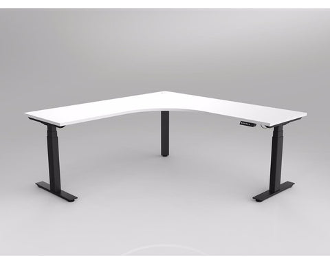 OLG Agile Electric Height Adjustable Corner Workstation Black Frame Standing Desks Dunn Furniture - Online Office Furniture for Brisbane Sydney Melbourne Canberra Adelaide
