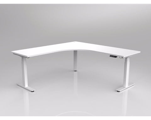 OLG Agile Electric Height Adjustable Corner Workstation White Frame Standing Desks Dunn Furniture - Online Office Furniture for Brisbane Sydney Melbourne Canberra Adelaide